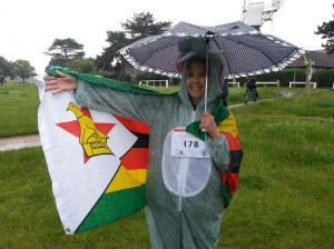 jen, umbrella and flag at elephant run